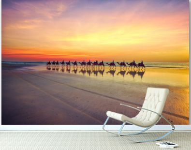 Camels at sunset on Cable Beach, Broome, Western Australia