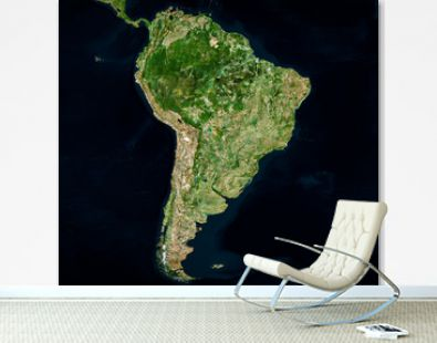 High resolution Satellite image of South America (Isolated imagery of South America. Elements of this image furnished by NASA)