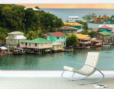Houses on stilts in the Oak Ridge area of Roatan, Honduras.