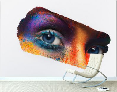 Eyes of model with colorful art make-up, close-up