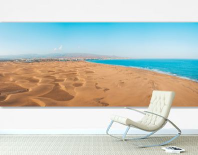 Aerial view of the Maspalomas dunes on the Gran Canaria island. Panoramic view.
