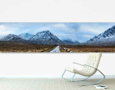 landscape view of scotland and the entrance to glen etive near buchaille etive mor in winter in panoramic landscape format