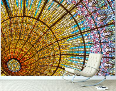 Stained glass ceiling of Palace of Catalan Music
