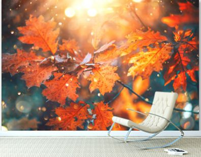 Autumn colorful bright leaves swinging on an oak tree in autumnal park. Fall background. Beautiful nature scene