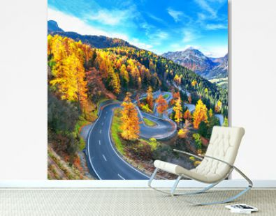Stunning view of Maloja pass road at autumn time.