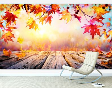 Wooden Table With Red Leaves And Autumn Background