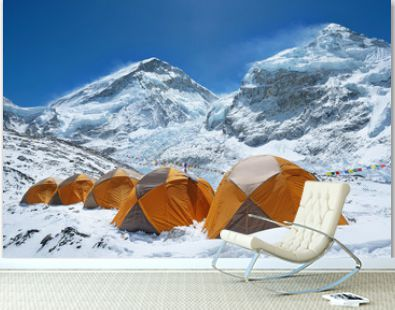 Everest base camp. Mountain peak Everest - highest mountain in the world. National Park, Nepal