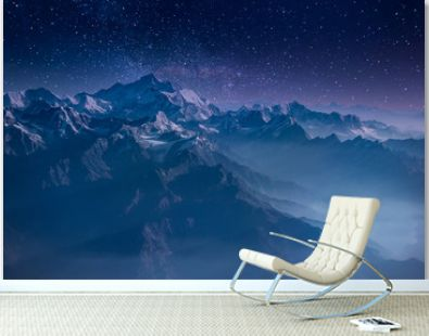 Himalaya Mountains under the Beauty of the Starry Sky