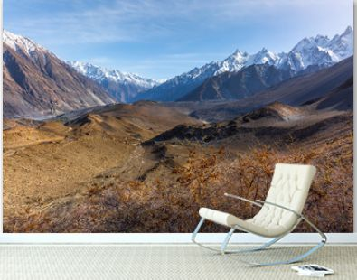 Landscape of snow capped mountain range. A view from the glacier, Babusar Pass, Khyber Pakhtunkhwa, Gilgit Baltistan, Northern Pakistan.