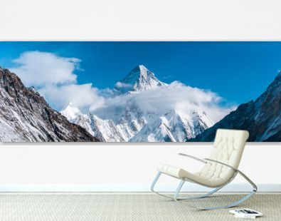 Close up panoramic view of K2, the second highest mountain in the world with Angel peak and Nera peak on the left side, Concordia, Pakistan