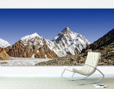 Snow covered K2 mountains the second tallest peak on the earth