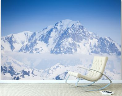 Beautiful view of snow Mont Blanc peaks and clouds