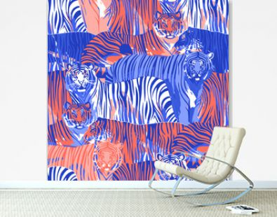 Graphic seamless pattern of standing and walking tigers.