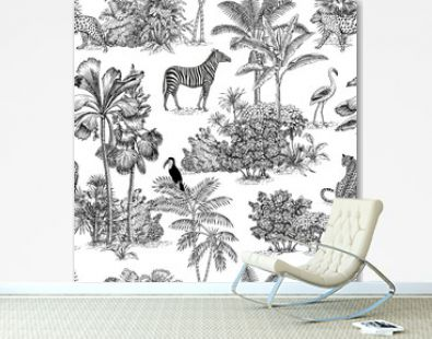 Toile tropical animals, palms tree, vintage graphic seamless pattern. Zebra, leopard, flamingo, toucan botanical jungle.