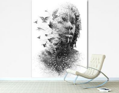 Paintography. Double exposure portrait of a young African American man combined with symbolic handmade drawing of a flock of birds flying away