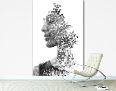 Paintography. Double Exposure portrait of a beautiful ethnic woman's profile combined with hand made drawing with floral motifs. black and white