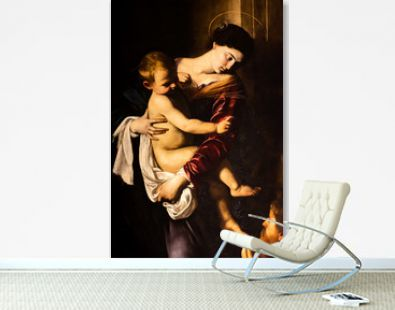 Classical painting of Mary holding baby Jesus