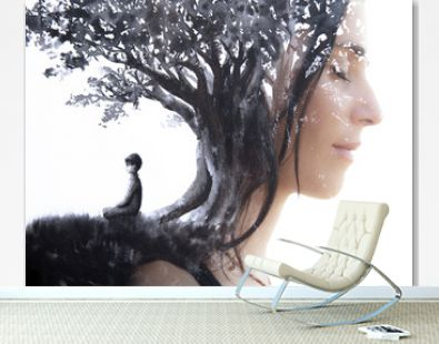 Paintography. Double Exposure portrait of a serene woman with closed eyes combined with hand made painting of a person sitting under a tree