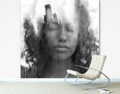 A black and white paintography portrait of a young woman with curly hair and closed eyes