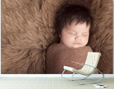 Newborn baby with lots of thick black hair