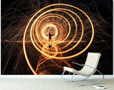Night Time Light Painted Imagery With Color and Steel Wool Spinning