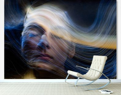 lightpainting portrait, new art direction, long exposure photo without photoshop, light drawing at long exposure