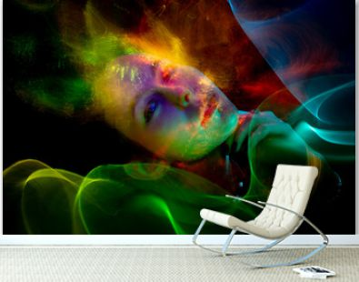 lightpainting portrait, new art direction, , light drawing at long exposure