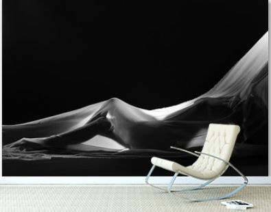 sensual sexy look of beautiful figure girl under hiding in light thin fabric, to show silhouette of woman body lying on floor