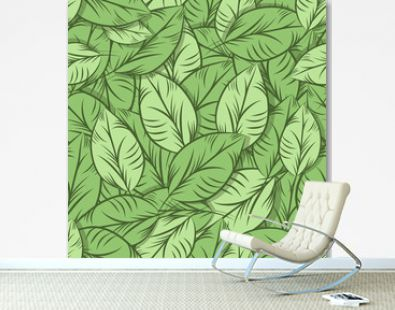 Green organic leaves, seamless pattern. Detailed illustration, hand drawn.Great for fabric and textile, prints, invitation, packaging, or any desired idea.