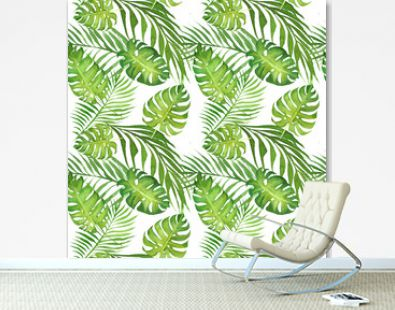 hand drawn watercolor floral tropical seamless pattern with green monstera leaves and palm tree leaves on white background