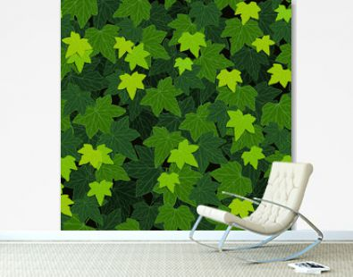 Ivy leaves green climbing wall foliage, vector illustration, seamless pattern background