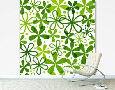 Seamless pattern with green flowers
