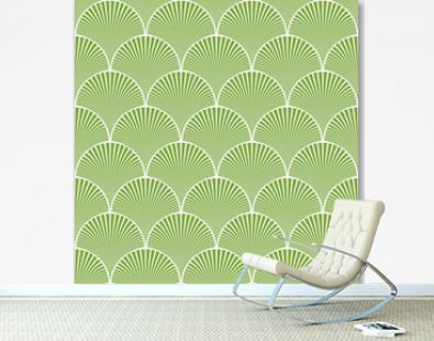 Seamless green and white japanese art deco floral waves pattern vector