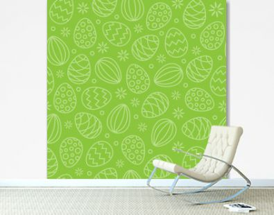 Easter eggs background seamless pattern green