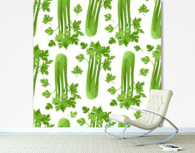 Vector seamless pattern with cartoon celery isolated on white.
