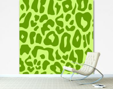 leopard print animal design. green colors. hand drawn seamless pattern for package design, bed linen, dress, fabric and fashion.