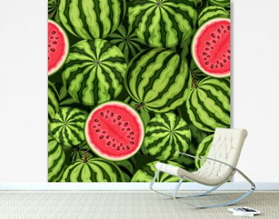 Vector seamless background with watermelons.
