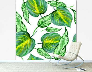 seamless pattern with green leaves, tropical leaves, green leaves, exotic leaves