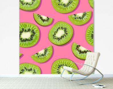 Trendy minimal summer seamless pattern with whole, sliced fresh fruit kiwi on color background