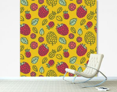 Raspberry seamless pattern. Hand drawn fresh berry. Multicolored vector sketch background. Colorful doodle wallpaper. Red and yellow print