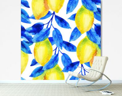 Watercolor lemon fruit branch with bright blue leaves seamless pattern.