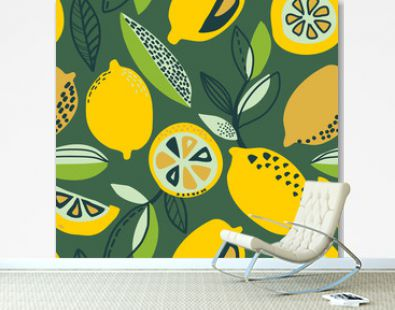 Vector seamless pattern with yellow lemons, branches, absdtact textures