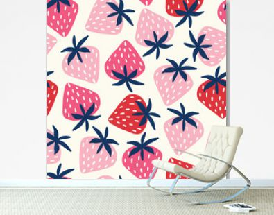 Vector seamless pattern with hand-drawn strawberries in pink and red on an off white background