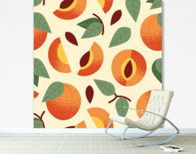 Ornament of cute, stylized ripe peach, pieces