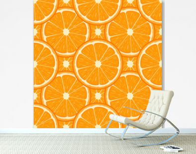 Seamless pattern with fresh half orange fruit. Tangerine. Organic fruit. Cartoon style. Vector illustration for design, web, wrapping paper, fabric, wallpaper.