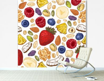 Granola colored seamless pattern. Engraved style illustration. Various berries, fruits and nuts. Vector illustration