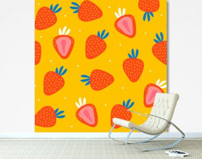 Juicy strawberries. Hand drawn vector seamless pattern. Colored trendy illustration. Flat design. Cartoon style. Yellow background