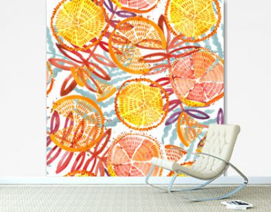 orange fruits seamless. Hand drawn fresh tropical plant waterecolor illustration.