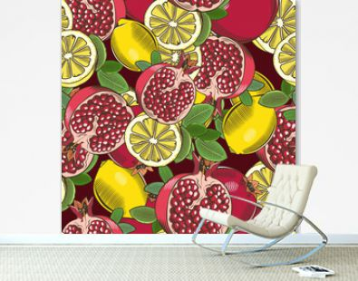 Colored seamless pattern with pomegranates and lemons in vintage style