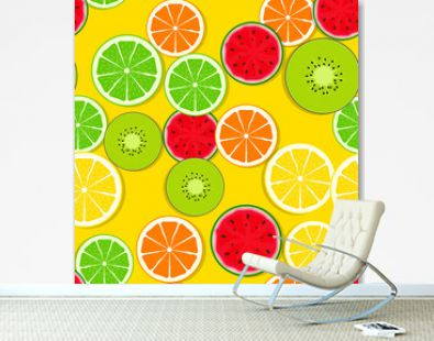 Abstract Seamless Pattern Background with Fresh Fruits. Vector Illustration